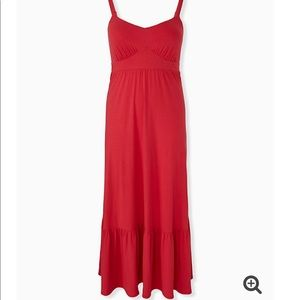 NWT torrid tiered jersey maxi dress bright red